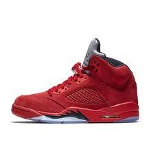 507c06d45db068 2018 Original New Arrival Authentic Jordan air 5 red Suede AJ5 Men s  Breathable Basketball Shoes Sports