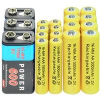 9V 600mAh + AA 3000mAh + AAA 1800mAh 1.2V NI MH Rechargeable Battery yellow|Rechargeable Batteries|   -
