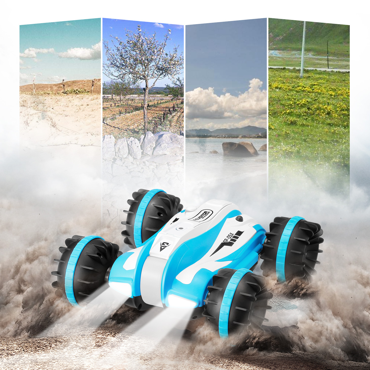 Powerful Design RC Cars 2.4GHz 6-Channel Amphibious Car 360-Degree Rotation Stunt Vehicle Toy Remote Control Toys Gifts