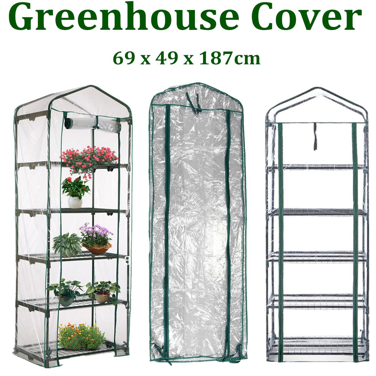 69 x 49 x 187cm Apex Roof 5 Tiers Garden Greenhouse Hot Plant House Shelf Shed Clear PVC Cover Keep Warm Good Breathability