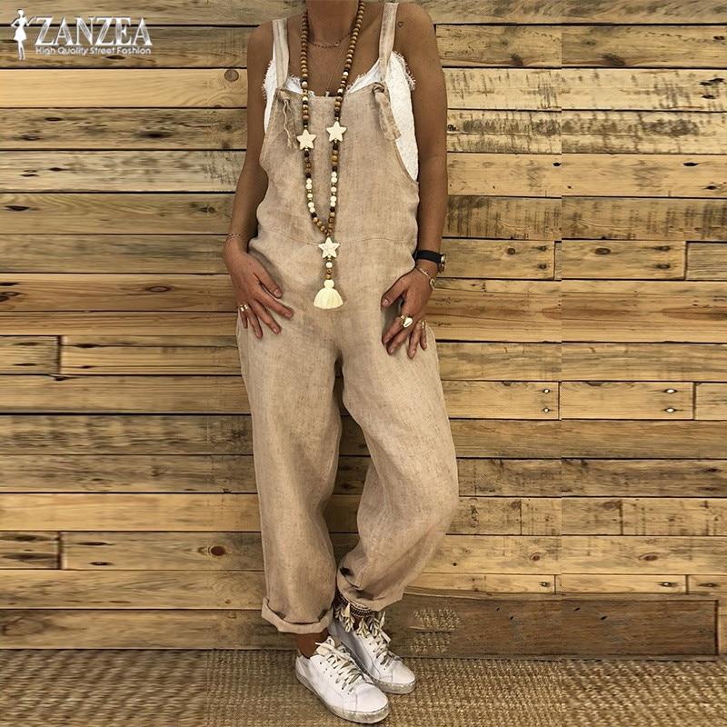 Combinaison Femme ZANZEA 2019 Linen Overalls for Women Long   Jumpsuit   Summer Causal Pants Female Playsuits Strap Rompers Pantalon