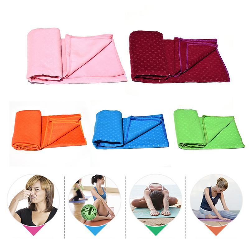 Flannel Yoga Paving Stars Pattern Anti   Skid Grain Pattern Moisture Wicking Towel Fitness Yoga Blanket Non Slip Yoga Towel