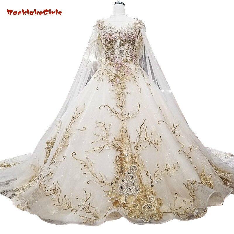 Robe de mariée en dentelle gonflée or Catthedral esthétique avec longue Cape robe de bal Long Train robes de mariée Champagne 2018