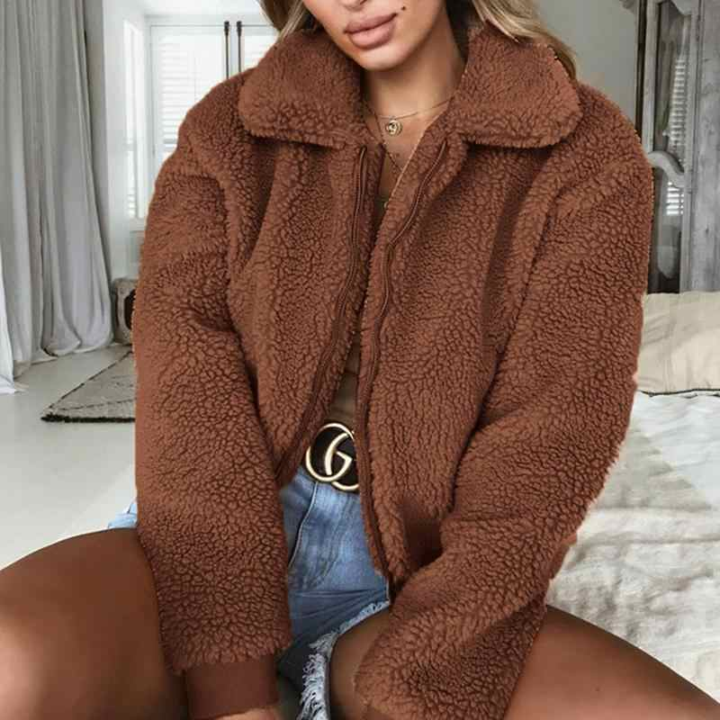 fab4d7b1fcc MISS M Charming Long Sleeved Fluffy Women Coat Short Fleece Fur Jacket  Teddy Bear Warm Outwear