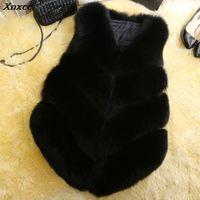 Faux Fur Coat Winter Women 2018 Casual Warm Slim Sleeveless Faux Fox Fur Vest Winter Jacket Coat Women Black casaco feminino