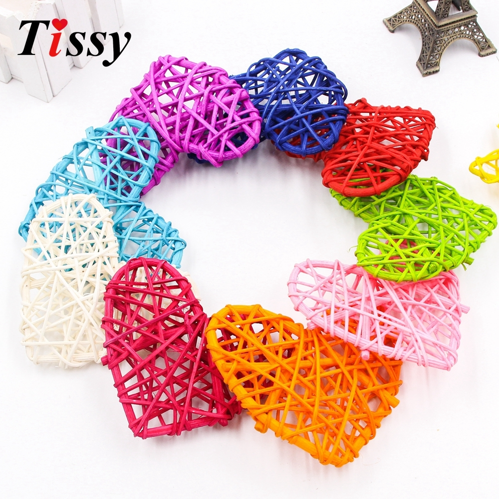 5PCS 2Sizes Colorful Rattan Round/Heart/Star Sepak Takraw DIY Rattan Ball Home Garden/Birthday/Wedding Party Decoration Supplies