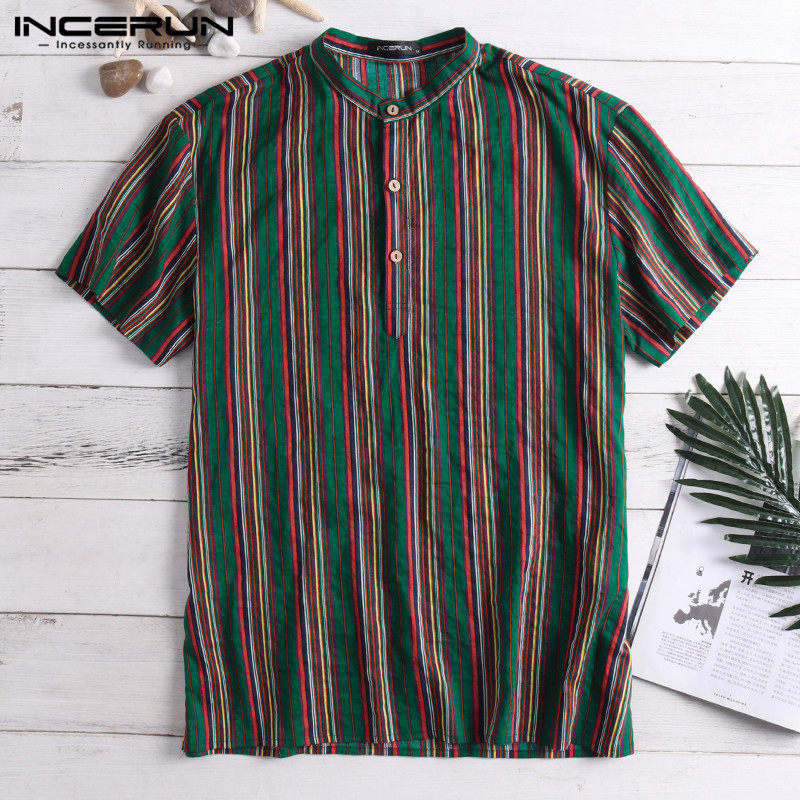 Ethnic Male Tops Men Casual Shirts Short Sleeve Crew Neck Loose Stand Mandarin Collar Vacation Camisa Masculina Chemise Nepal