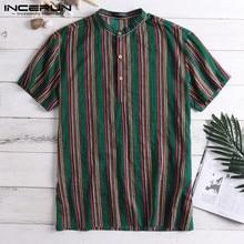 Ethnic Male Tops Men Casual Shirts Short
