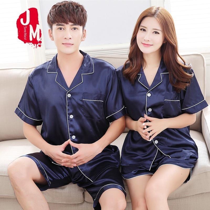 Male Sleepwear Pyjama-Set Nightgown Short-Sleeve Satin Solid-Pijama Silk Men Summer Suit-Spring