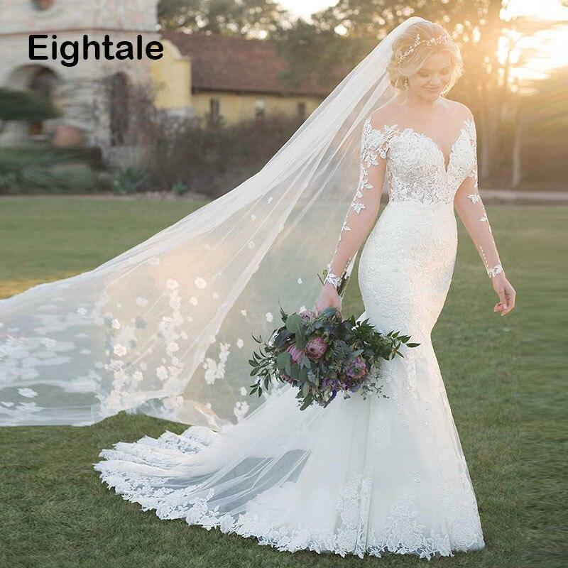 Eightale Wedding Dress Long Sleeve O Neck Appliques Lace Mermaid Wedding Gowns Backless Custom Made Plus