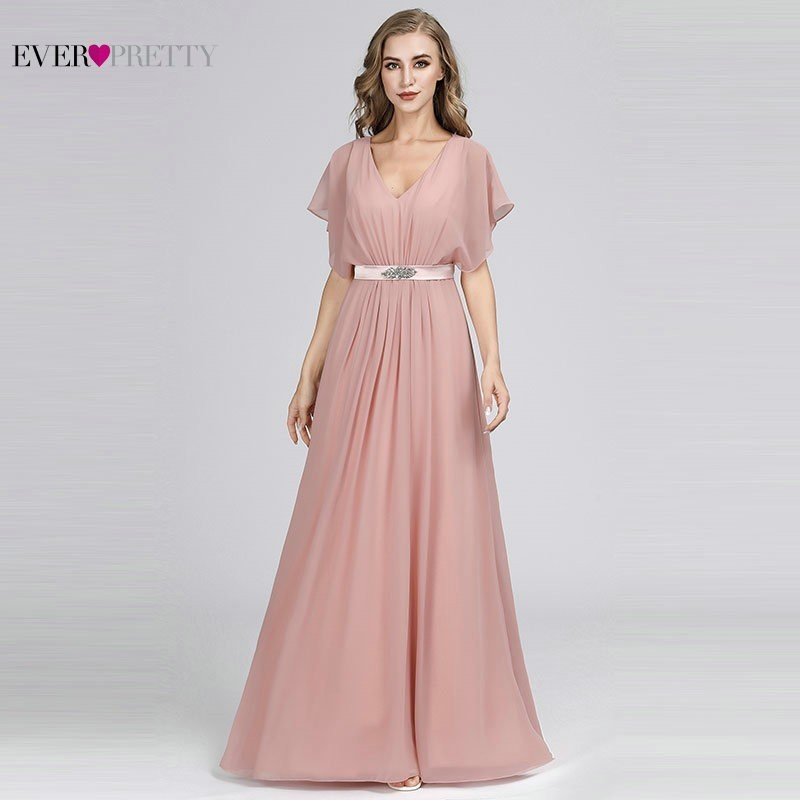 Pink Mother Of The Bride Dresses Long Ever Pretty Elegant A-Line V-Neck Short Sleeve Mother Dresses With Crystal Sashes 2019