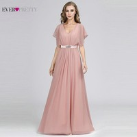 Pink Mother Of The Bride Dresses Long Ever Pretty Elegant A Line V Neck Short Sleeve Mother Dresses With Crystal Sashes 2019