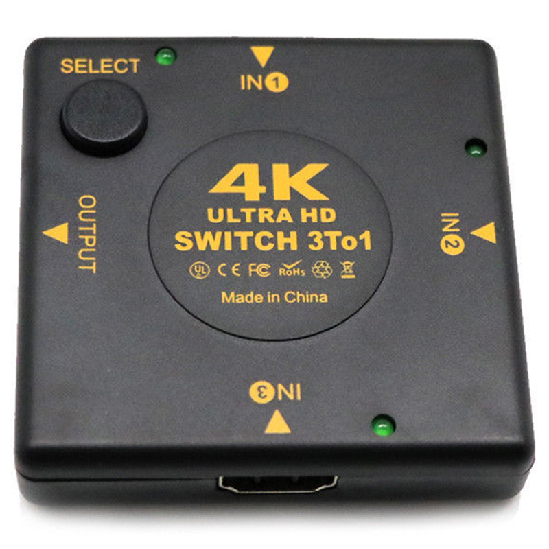 4K HDMI Switch Box Selector 3 In 1 Out Kvm Audio Extractor Hub Splitter Switcher-SCLL