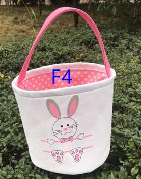 Wholesale 10pcs/lot New Styles Easter Bunny Basket Kids Gifts Bag Blank Canvas Easter Bunny Tail BagsTote Easter Bucket