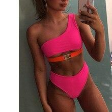f2e591c2c7 Néon Rose Chaud robe asymétrique Bikini push up Maillots de Bain Pour Femmes  Taille Haute maillots