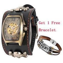 лучшая цена Punk Men Watch Automatic Timepiece Mechanical Mens Watches Skull Cool Black Leather Man Skeleton Clock Roman Numerals Display