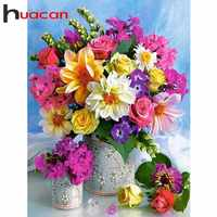 Huacan 5D DIY Diamond Painting Flowers Cross Stitch Full Square Rhinestones Diamond Embroidery Vase Mosaic Home Decor Colorful