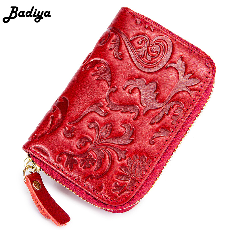 Genuine Leather Women Accordion Short Wallet Floral Embossing Multi Card Holders RFID Small Coin Purse Zipper Clutch Wallets