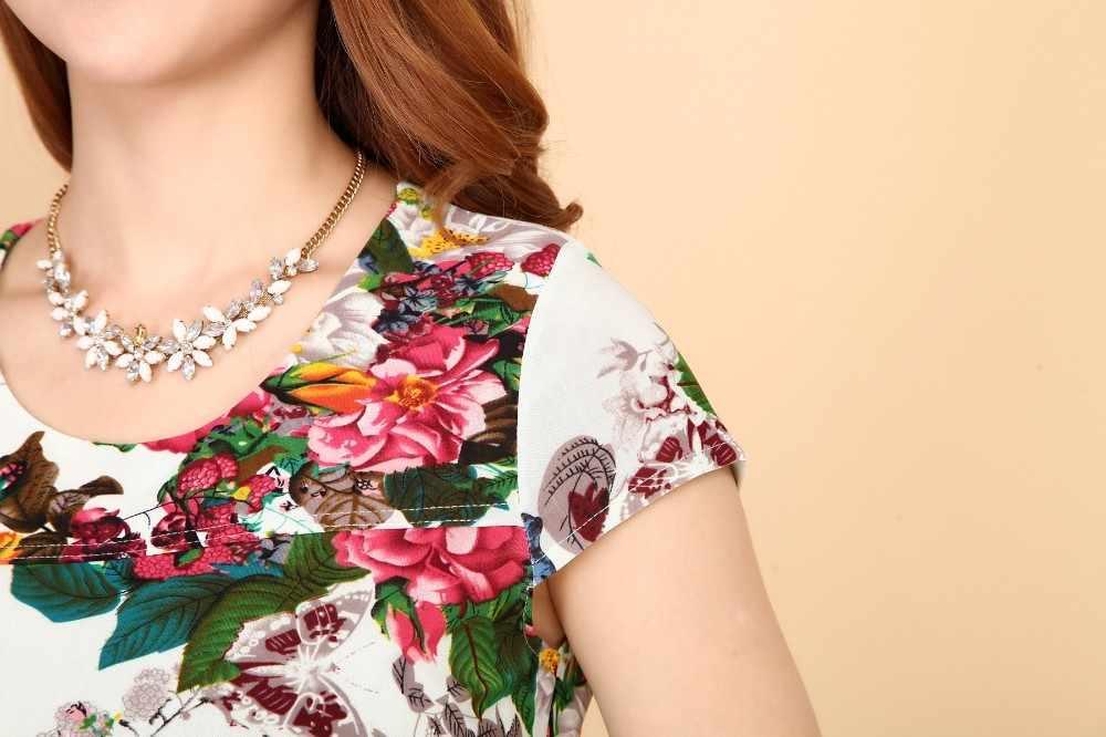 Женское летнее платье Vestidos De Festa, шелк, короткое, с рукавом, без ворота, повседневное, с цветочным рисунком, L-5XL