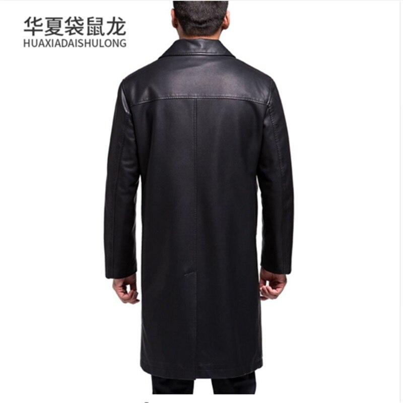 Nouveau Style hommes manteaux en cuir véritable longue section veste en peau de mouton et manteau mâle en cuir manteau Style d'hiver, veste en cuir loog - 6