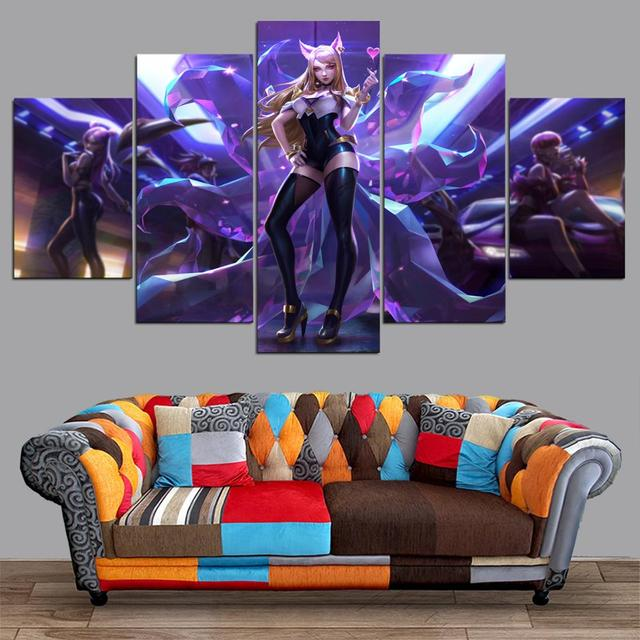 HD canvas printed painting 5 piece League of Legends KDA Ahri Splash Art Home decor Poster Picture For Living Room YK-1224 3