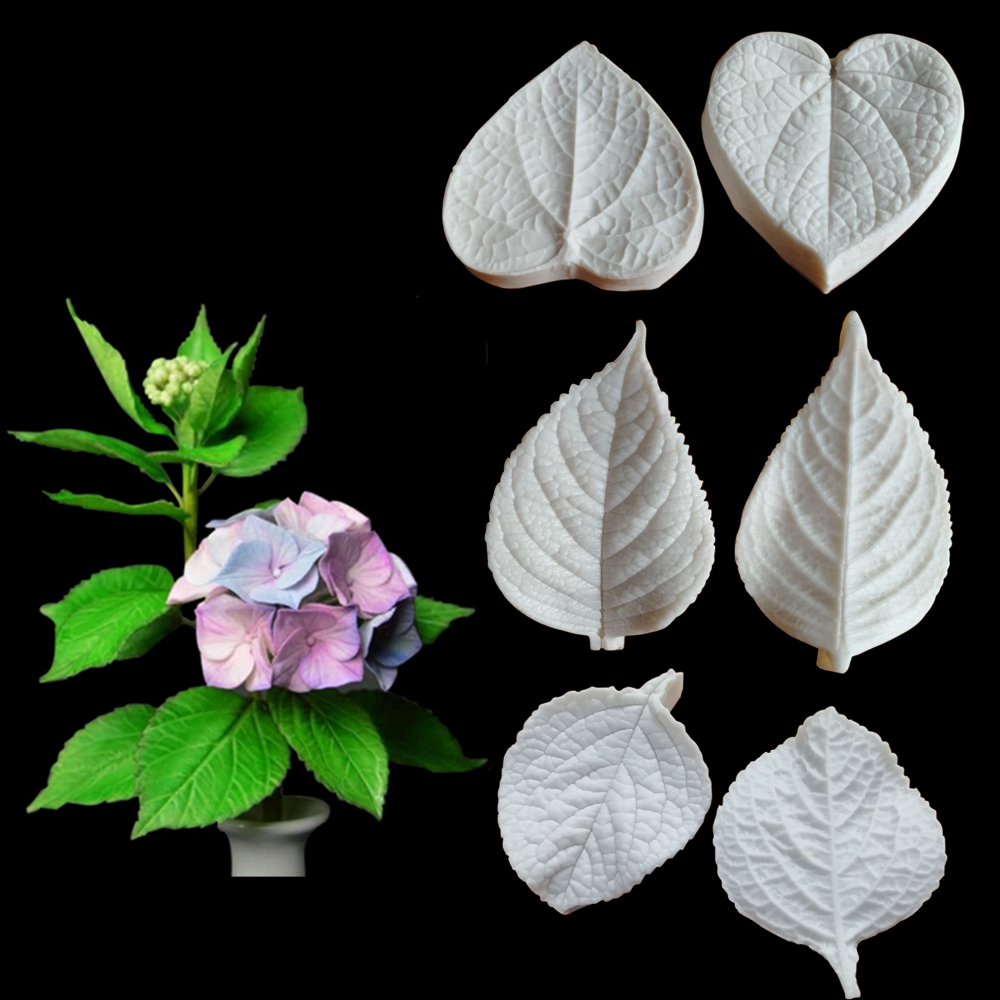 Gumpaste Mold Cake-Decorating-Tools Fondant-Mould Kitchen-Tool Hydrangea-Leaves Chocolate