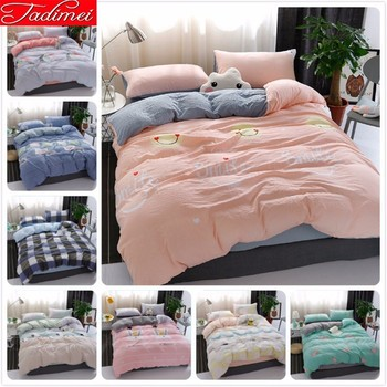 New Fashion 100% Washed Cotton Duvet Cover Bedding Set Adult Kids Child Soft Bed Linen Single Twin Full Queen King Size 150x200