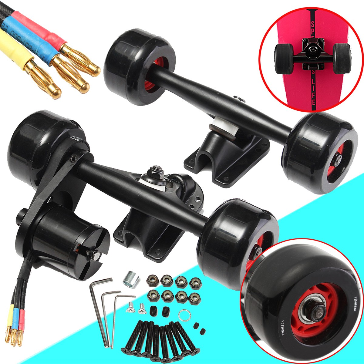 Electric Skateboard Truck Off Road Skateboard Belt Drive Truck 4 Wheel N5065 Electric Skateboard Parts Kit