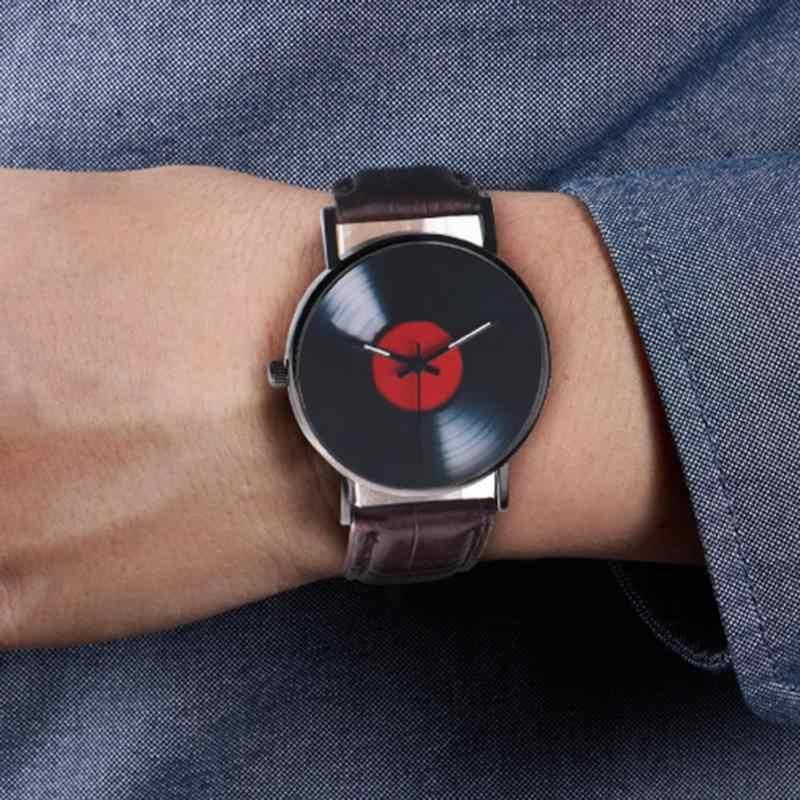 Hommes simples montres adolescent décontracté disque montre-bracelet bracelet en cuir PU analogique montre à Quartz