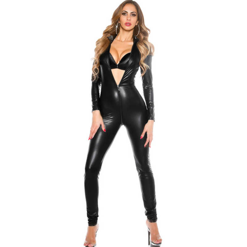 e92552a0ce Lingerie Sexy Hot Erotic Bodysuit Sexy Women PU Leather Bodysuit Long  Sleeve Zip Skinny Pants Bodycon