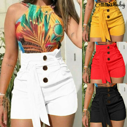 Women's Summer Shorts High-waisted Wide Shorts Femme Button Sashes Solid New Shorts Ladies Casual Clothing