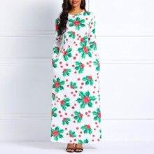 clocolor Women Maxi Dresses Casual Elegant Winter White Aline Plant Print  Female 5cdc8e3de861