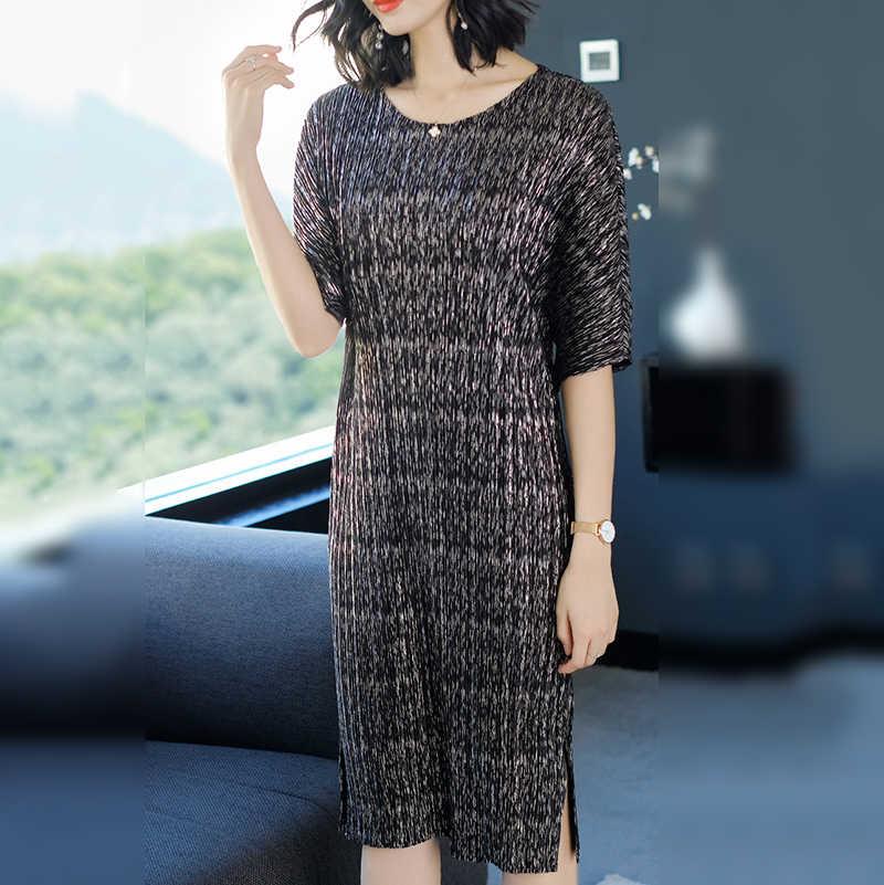 LANMREM 2019 летняя модная новая плиссированная одежда для женщин, свободные платья большого размера с рукавами-бабочками, платья с рукавом до локтя, платье с разрезом NA94
