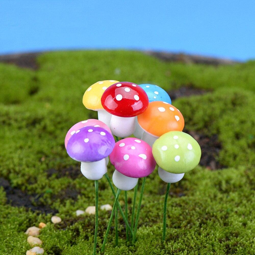 10Pcs 2cm/3cm Artificial Mini Mushroom Miniatures Fairy Garden Moss Terrarium Resin Crafts Decorations Stakes Craft10Pcs 2cm/3cm Artificial Mini Mushroom Miniatures Fairy Garden Moss Terrarium Resin Crafts Decorations Stakes Craft