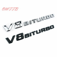 10pcs 3D ABS V8 BITURBO Logo Badge Auto Rear Side Emblem Car Sticker for Benz BMW VW Hyundai Mazda Chevrolet Skoda Car styling