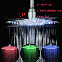 LED Shower Head 8101216Stainless Steel Showerhead Chrome Finish Water Saving Shower Heads