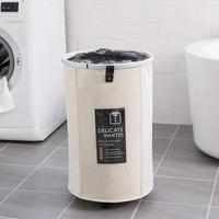 Round Laundry Basket Foldable Aluminum Metal Alloy Frame Dirty Clothes Laundry Hamper with Handle and Wheel