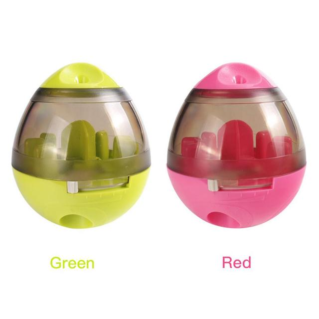 Funny Casual Tumbler Ball Red Food Pet Training Oval Toys Leakage Interactive Dog Pet Green Toy Rose 3