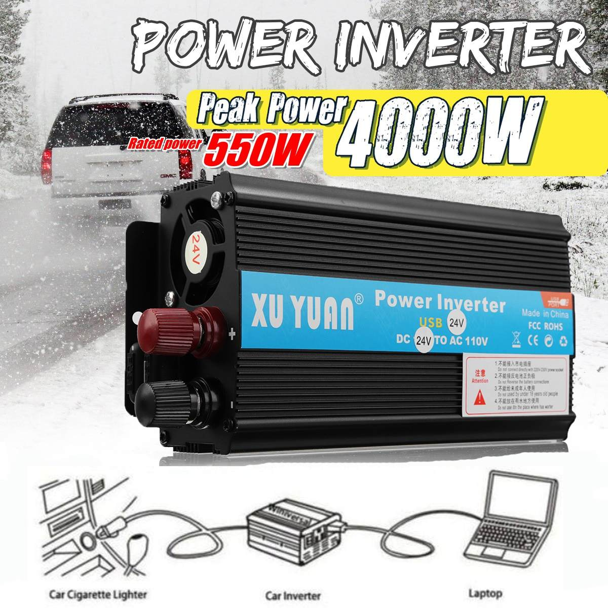 Voiture dc 12V à ac 230V power inverter 4 ports de charge ordinateur portable tv réfrigérateur