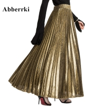 2019 Spring and Summer Elegant Long Skirts Womens  High Waist Pleated Skirt Casual Gold Beach