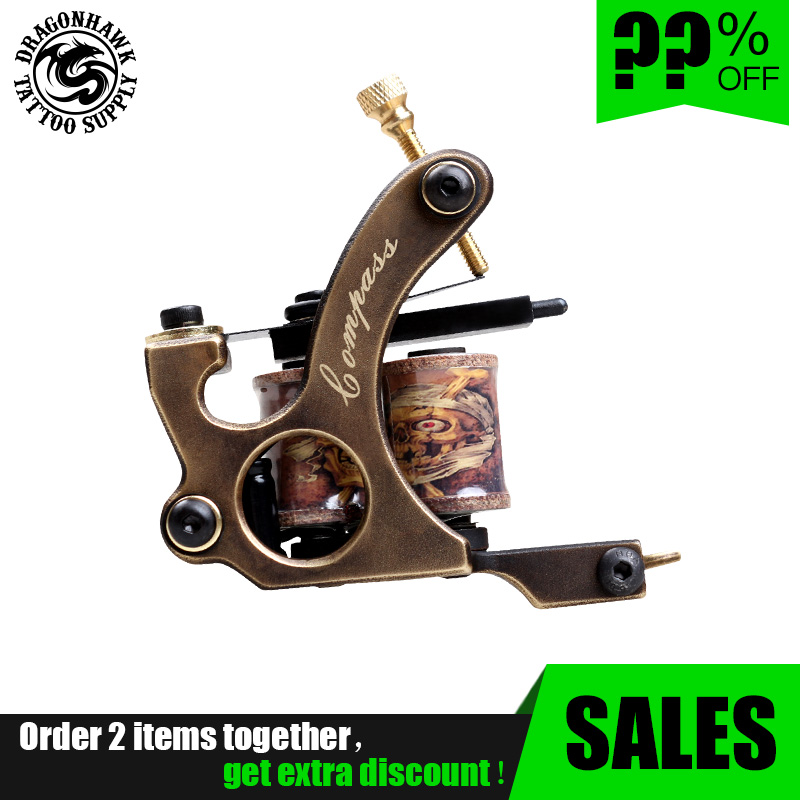 2 Pcs Handmade Whole Wire Cutting Copper Machine Tattoo Machine 10 Wraps Coil Tattoo Gun Liner And Shader
