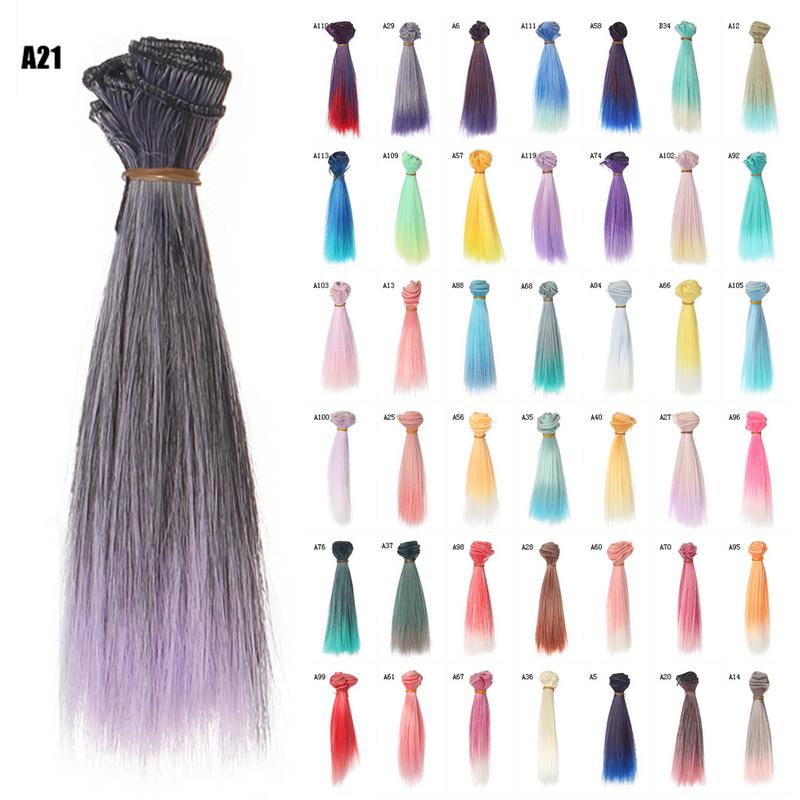 1pcs 15 Cm Doll Accessories Straight Synthetic Fiber Wig Colorful Hair For Doll Wigs High Temperature Wire Free Shipping