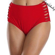 Trendy Women clothes Nylon solid Sexy High Waist Swimming Trun Ruched Bottoms Briefs Bikini Swimwear Trunks