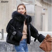 Xnxee Short Winter Jacket Women Hooded Warm Jackets Coat Big Fur Thick Outwear Ladies Parkas Female