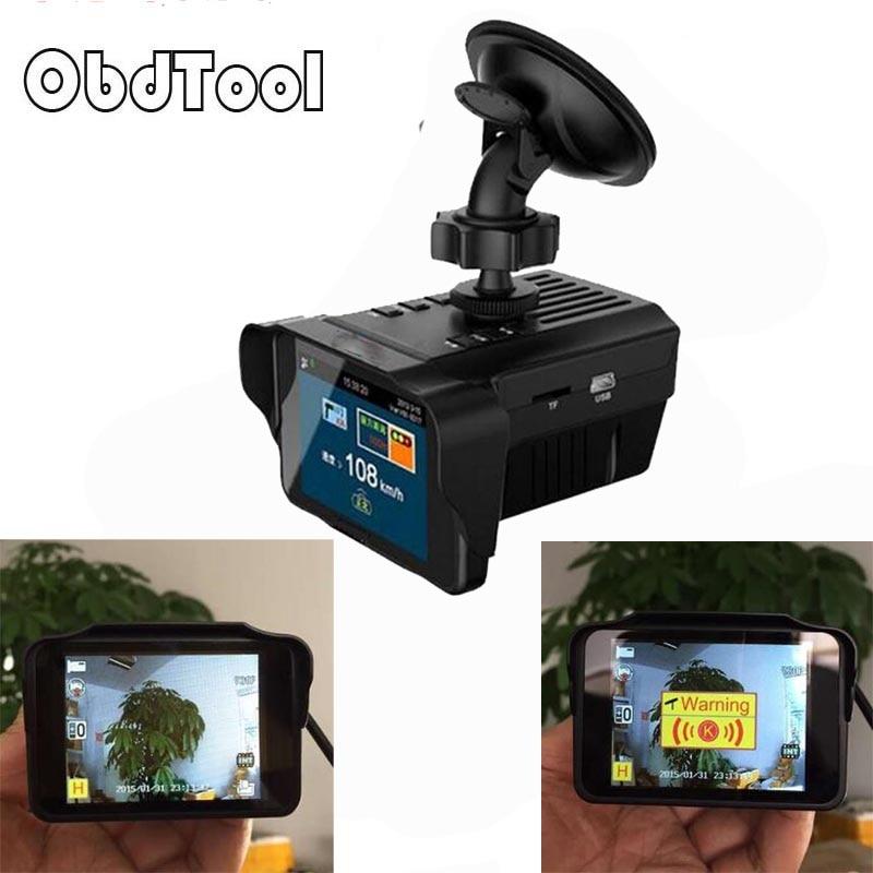 OBDTOOL H588 enregistreur de caméra DVR de voiture détecteur de Radar Anti-vitesse Combo 2in1 langue russe ou anglaise