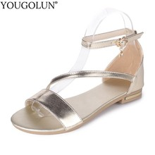 YOUGOLUN Women Flat Sandals New Arrived Ladies Summer Rhinestone Casual Shoes Sexy Woman White Black Gold T-Strap Sandal A030