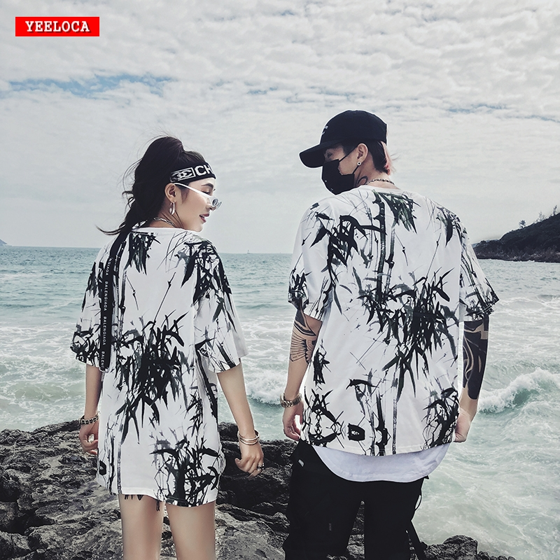 Dropshipping 2019 summer new bamboo splash ink Chinese painting short-sleeved shirt hip-hop oversized couple men women T-shirt 1