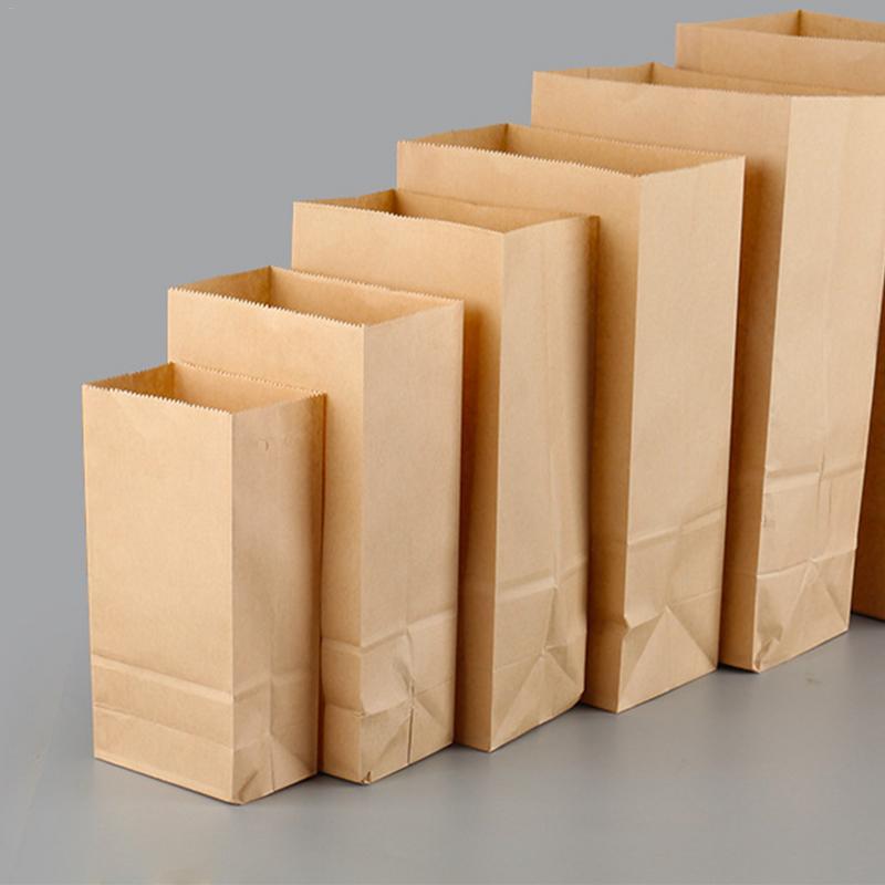 Us 10 48 44 Off 100pcs Pack Kraft Paper Gift Bags Lunch Food Bread Fruits Storage Bag Hamburgers Ng Organizer In