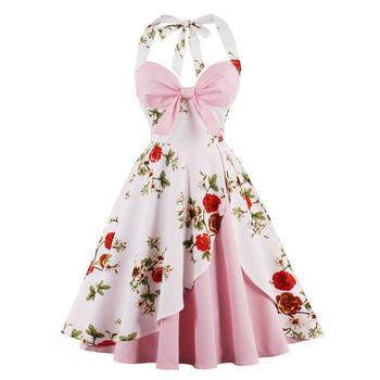 c1274fb821c Пикантные ретро в горошек Vestido Rojo 2019 Одри Хепберн Винтаж Холтер 50 S  60 Готический рокабилли платье для женщины