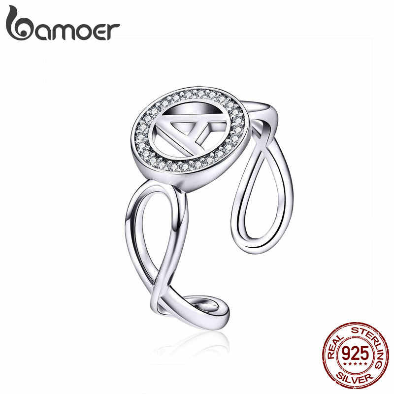 BAMOER Letter Ring Alphabet A Infinity Geometric Wide Finger Ring Big Size Rings for Women Sterling Silver 925 Jewelry SCR506